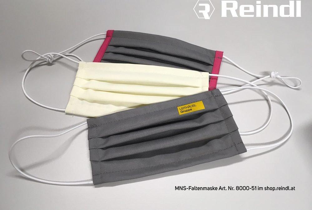 REINDL: Mund-Nasen-Schutz-Faltenmaske in modernen Farben & Logoaufdruck
